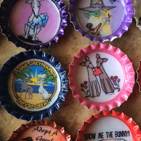 10 Greyhound Bottle Cap Magnets You Pick Random Prints Donation to local GH Rescue