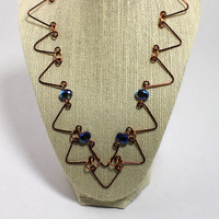Reclaimed copper wire with beads necklace - handmade copper necklace - bead and copper necklace