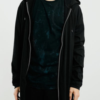 BLACK LONG LINE ZIP THROUGH HOODIE - Topman