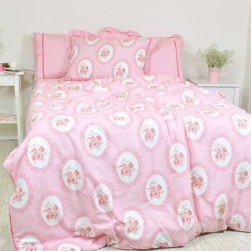 Pink Floral Duvet Cover in Twin Twin XL Full Queen King Size - Victorian Rose Print Cotton Fabric - Shabby Chic Bedding - Cottage Home Decor