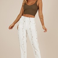 Katelyn pants in cream floral Produced By SHOWPO