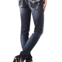 Miss Me Jeans Silver Studs Skinny Jean with flap