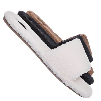 Upbeat38 Faux Shearling Lined Slides - Synthetic Fur Slip On Flat Sandal