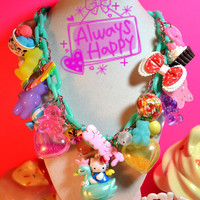 Sweet Madness Super Chunky Hello Kitty With Yummy Stuff Kawaii Charms Special Necklace