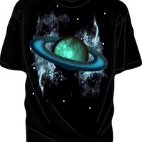 Saturn like Blue Planet Cosmos Black T Shirt Astronomy Outer Space Nebula Star