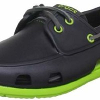 crocs Men's 14327 Beach Line Boat Shoe,Navy/White,10 US