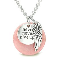 """Angel Wing and Inspirational """"Never Never Give Up"""" Amulet Candy Pink Quartz Pendant 18 Inch Necklace"""