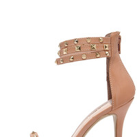 Spikes Palace Nude Studded Ankle Strap Heels