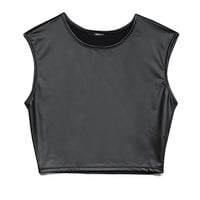 FOREVER 21 Rebel Faux Leather Crop Top Black Small