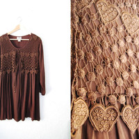 Vintage 90s Brown Tayon Babydoll Dress Hippie Boho Fesival