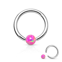 Pink Fire Opal Captive Bead Ring