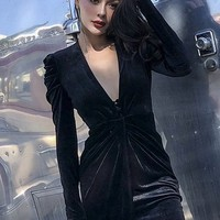 Keeping It Real Black Velvet Long Puff Sleeve Plunge V Neck Wrap Twist Wrap Bodycon Tulip Midi Dress