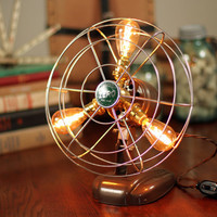 COMPACT - Vintage Fan Lamp, Edison Lamp, Steampunk Lamp, Repurposed Fan Lamp, Electric Fan, Industrial Fan Lamp, Edison Bulb, Antique