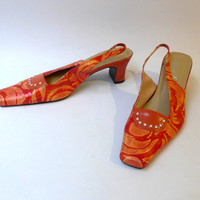 Vintage orange psychedelic swirl square toe sling backs medium heel sz 38