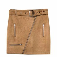 Suede Moto Mini Skirt