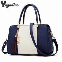 Trendy Patchwork Color Shoulder Bag for Women Middle Totes Purse Office Lady Crossbody Bags handing tassel ornament Handbags