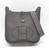 Authentic Hermes Evelyne 2 PM Shoulder Crossbody Bag Pochette Leather Gray 2006