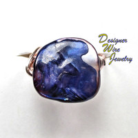 DWJ0187 Fiery Ocean Purple Abalone Rose Gold Wire Wrapped Ring All Sizes