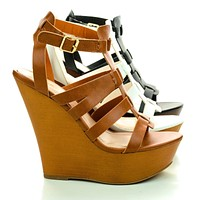 Stef01 By Sully's, Open Toe Gladiator Faux Wooden Platform High Wedge Sandals