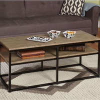 Contemporary Coffee Table Black Metal Frame Natural Finish Living Room Furniture