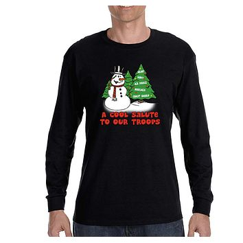 XtraFly Apparel Men's Snowman Salute Our Troops Army Navy Military Ugly Christmas Long Sleeve T-Shirt