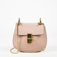 """Chloe Pink Leather Chain strap Small """"Drew"""" Flap Bag"""