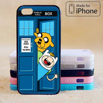 ADVENTURE TIME JAKE FINN IN DR WHO TARDIS For iPhone 6 Plus For iPhone 6 For iPhone 5/5S For iPhone 4/4S For iPhone 5C-5 Colors Available