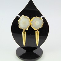 """18K GOLD PLATED GEODE SOLLAR DRUZY 2""""SPIRAL STUD EARRINGS ALLOY OVERLAY JEWELRY"""