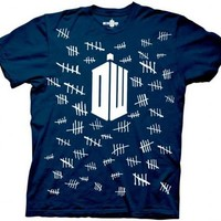 Doctor Who Tally Marks Navy Adult T-shirt - Doctor Who - | TV Store Online