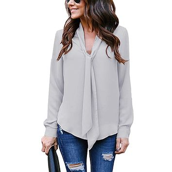 Yidarton Women's Cuffed Long Sleeve Casual V Neck Chiffon Blouses Tops with Tie 1