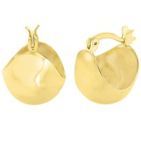 14k Gold Plated Basket Puffy Half Ball Thick Hoop Womens Earrings 12mm