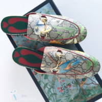 GUCCI Fashion Casual Print Flat bottomed single shoe sandals Red Blue Bird G