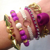 Fuchsia and Gold Spike Bracelet Stack Set