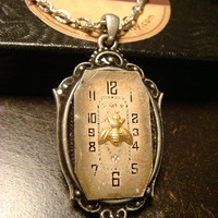 Victoran Style Watch Face with Tiny Bee Steampunk Pendant Necklace  - Upcycled Jewelry  (1815)