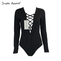 Simplee Apparel fashion deep v neck lace up black bodysuit Sleeveless tank short jumpsuit women romper Bodycon sexy macacao