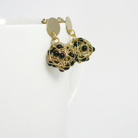 Love knot earrings/ Wire ball black and gold/ wire wrapped earrings