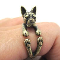 Realistic Boston Terrier Dog Shaped Animal Wrap Ring in Brass | US Sizes 5 to 9