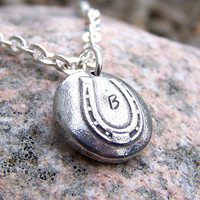 Monogram Horse Shoe Necklace, you choose the letter, personalized, custom initial, 3mm silver plated curb chain