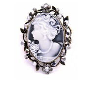 Hermitite Crystals Cameo Brooch / Pendant Mothers Day Ornate Gift