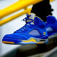 NIKE AIR JORDAN 5 AJ5 high-top basketball shoes blue +yellow internal