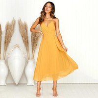 Kimuise sexy backless v neck a line wrap sleeveless women dress casual long dress for women spaghetti strap summer dress 2019