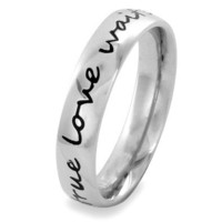 Stainless Steel 'True Love Waits' Cursive Script Ring (4.5 mm) - Size 8.0