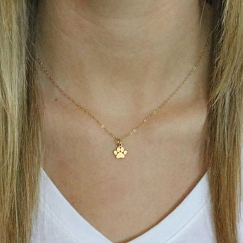 Gold Paw Print Necklace - Tiny Paw Print Necklace - Vermeil Paw Print Charm -Cat Dog Lovers Jewelry -Pet Memorial Necklace -Pet Jewelry