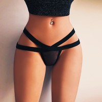 Women Sexy Lingerie Mesh Briefs Summer Low Rise Bandage Thong G-String Underwear Panties Thongs Knickers