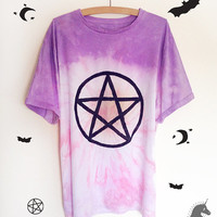 Pentagram Tie Dye Dip Dye pastel pink and purple cotton tshirt wiccan pagan grunge 90s goth kawaii