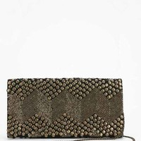 Ecote Aries Metallic Embellished Clutch- Gold One