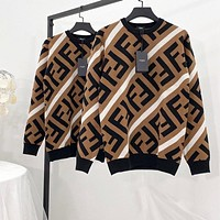 Fendi double F letter jacquard men's and women's loose knit sweater