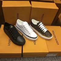 LV Louis Vuitton Woman Genuine Leather Fashion Casual Sneakers Shoes
