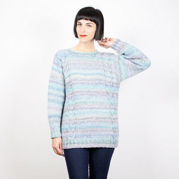 Vintage 80s Sweater Ombre Striped Blue Purple Cable Knit Sweater Chunky Knit Oversize Gradient Striped Cosby Sweater Jumper Pullover L Large