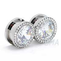 Center Gem Orbital CZ Tunnels Plugs (4mm-16mm)